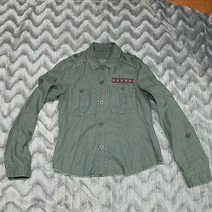 Aeropostale Womens S Olive Green Military Jacket